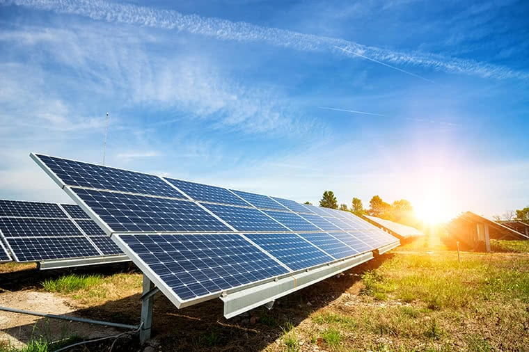 Sunny days on solar panels.